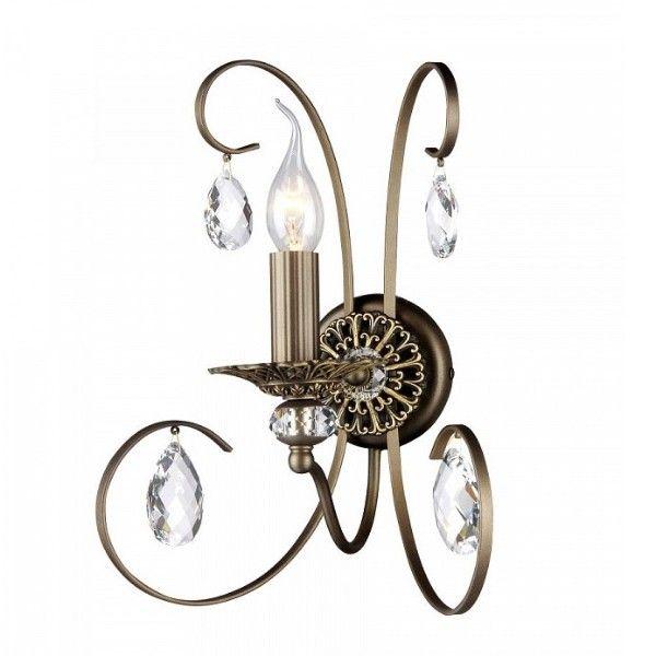 brązowy, metalowy kinkiet z dekoracyjną podstawą i kryształkami