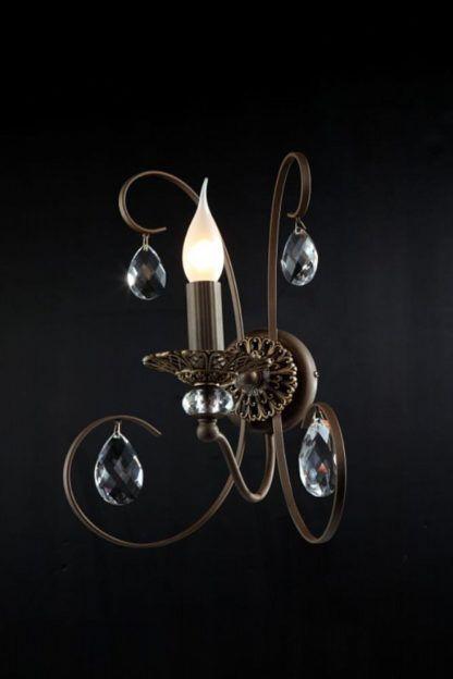 brązowy, metalowy kinkiet w stylu klasycznym