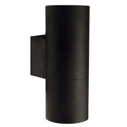 nowoczesny, czarny kinkiet do oświetlenia elewacji