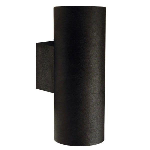 metalowy, czarny kinkiet zewnętrzny, tuba, nowoczesny