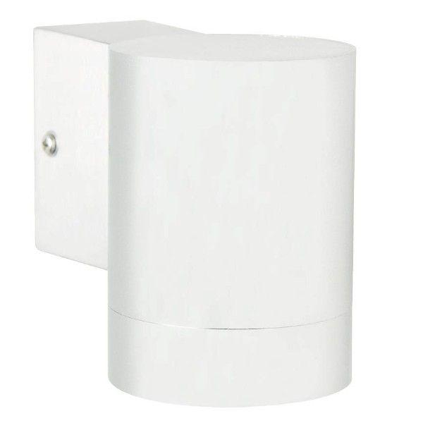 biały kinkiet zewnętrzny, metalowa tuba