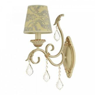 Klasyczny kinkiet Velvet - kremowo-złoty, z kryształkami