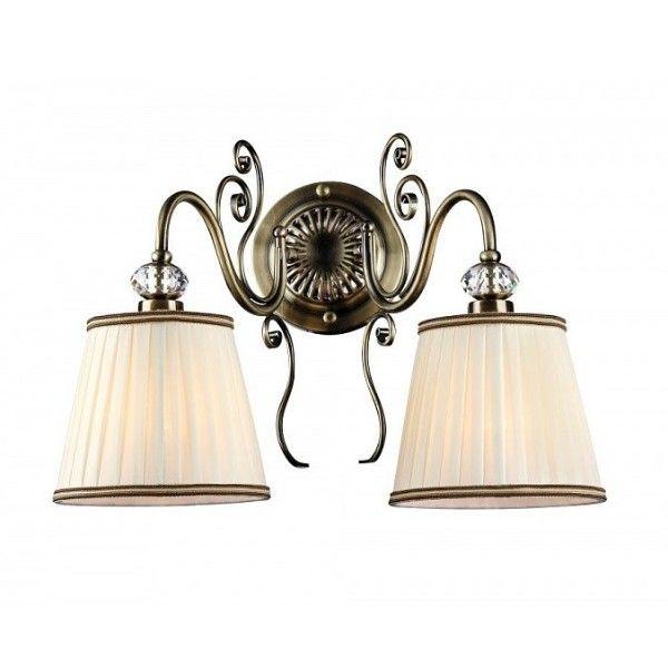 lampa ścienna z dwoma plisowanymi abażurami, klasyczny