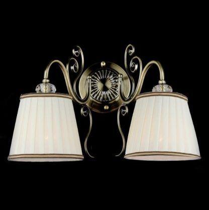 kinkiet w stylu klasyczny, beżowe, plisowane abażury, brązowy metal