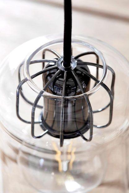 szklana lampa wisząca, styl nowoczesny, transparentny klosz
