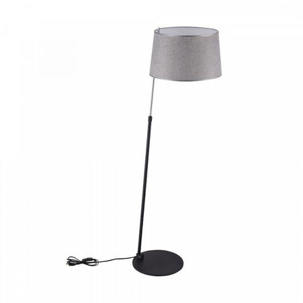 podłogowa lampa z szarym abażurem, regulowana wysokość