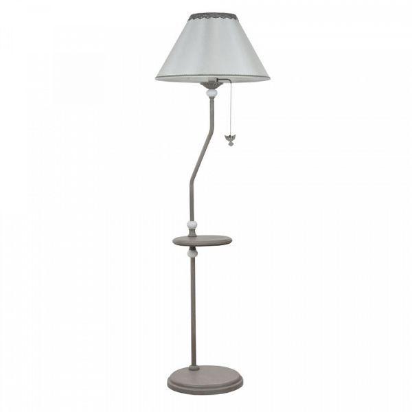 szara, klasyczna lampa podłogowa z abażurem, półka w podstawie