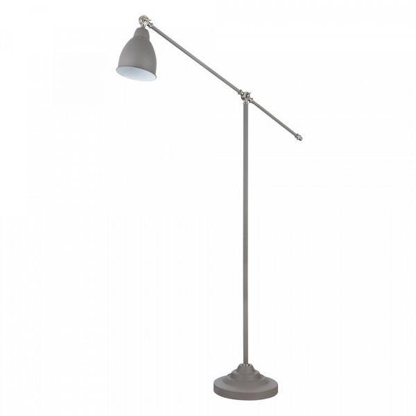 lampa podłogowa szara, metalowa, klasyczna
