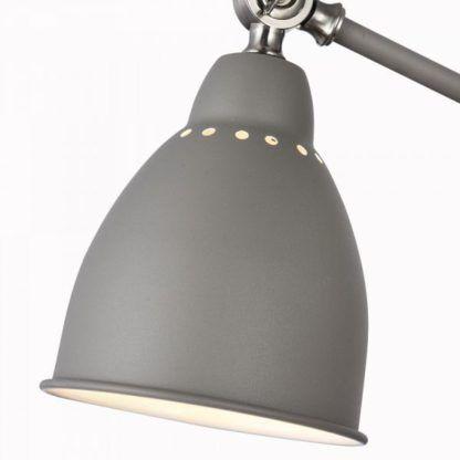 szara lampa podłogowa do biura i gabinetu, regulacja światła