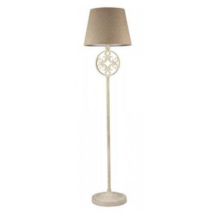 kremowa lampa podłogowa z abażurem, rustykalna