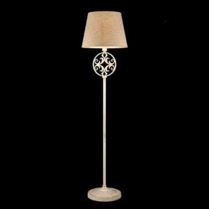 elegancka lampa podłogowa z dekoracyjną podstawą, beżowy abażur