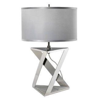 Geometryczna lampa stołowa Aegeus - jasny abażur