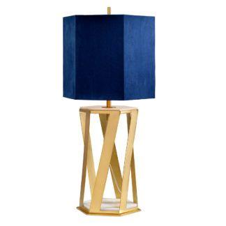 Elegancka lampa stołowa Apollo - złota, granatowy abażur