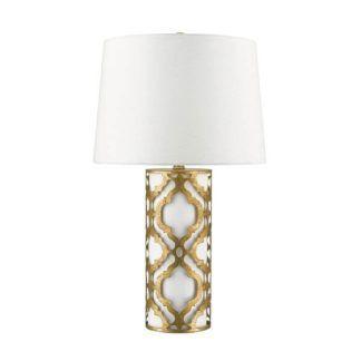 Klasyczna lampa stołowa Arabella - arabeska, biały abażur