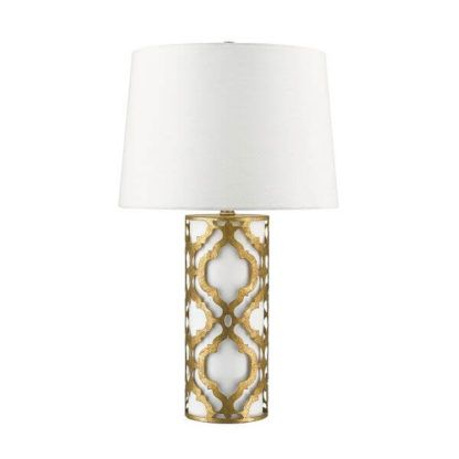 biało-złota lampa stołowa w metalową arabeskę