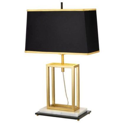 złota lampa z ażurowym, złotym wielościanem w podstawie i czarnym prostokątnym abażurem