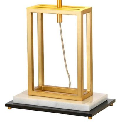 lampa stołow w stylu modern clasic, złota podstawa wielościan