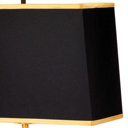 metalowa, złota lampa stołowa z czarnym abażurem i złotą lamówką