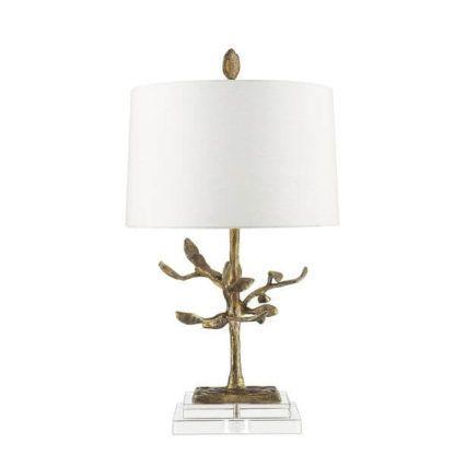 złota lampa stołowa z podstawą w kształcie drzewa z metalu, biały abażur, elegancka, stylowa