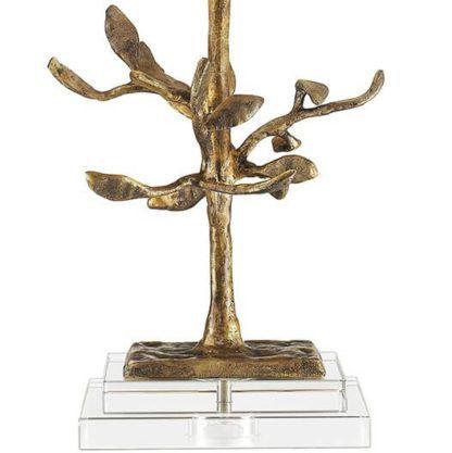 lampa stołowa z oryginalną podstawą w kształcie drzewa