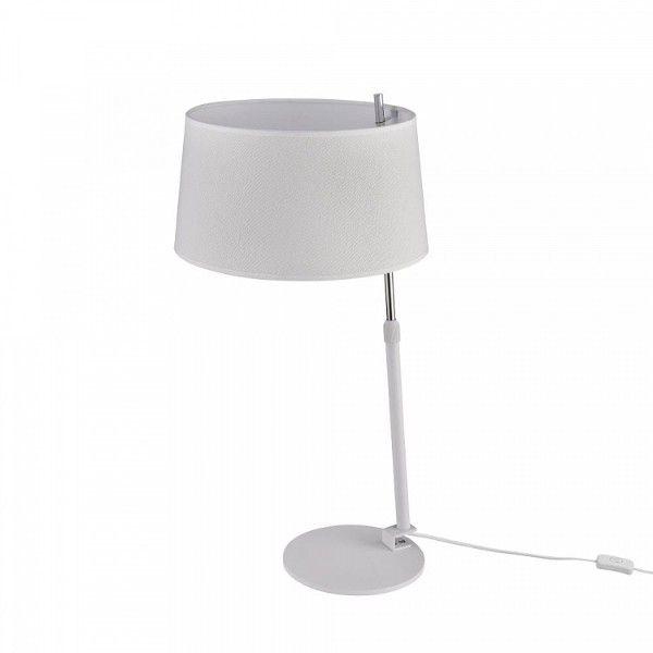 biało-srebrna lampa stołowa z regulacją wysokości