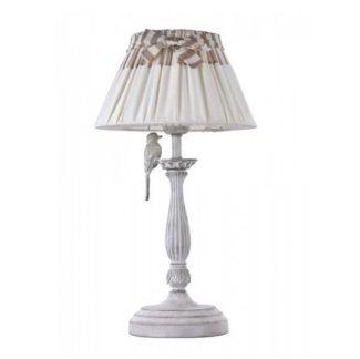 Lampa stołowa Bird - styl vintage, lniany abażur