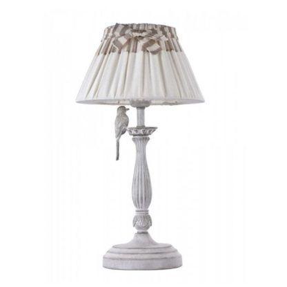 lampa stołowa vintege, beżowy abażur z kokardką, figurka wróbelka, shabby chic