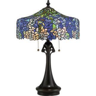 Witrażowa lampa stołowa Cobalt - odcienie niebieskie, lawendowe, zielone