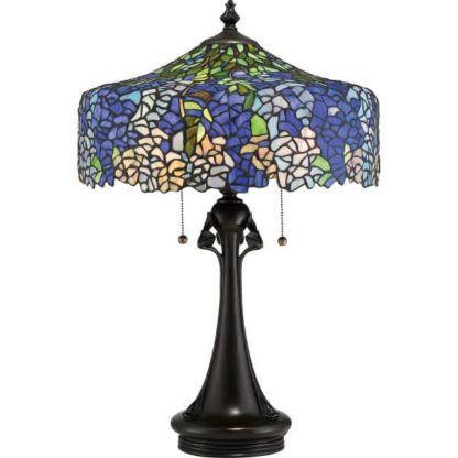 witrażowa, klasyczna lampa stołowa w niebieskich i fioletowych odcieniach