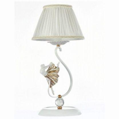 elegancka lampa stołowa z jasnym abażurem i podstawą ozdobioną figurką baletnicy