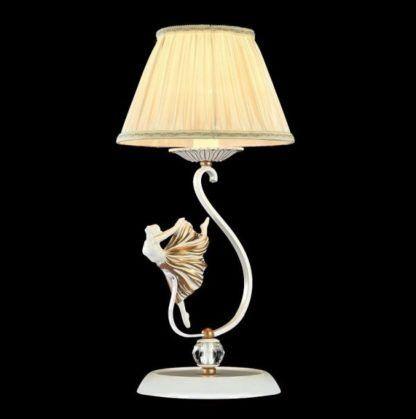 stylowa lampa stołowa, biało-złota z abażurem, figurka tańczącej baletnicy