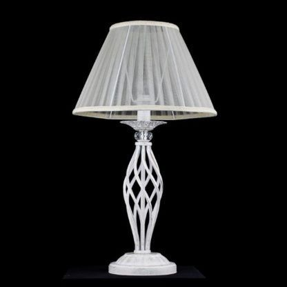 biała lampa stołowa, klasyczna z abażurem