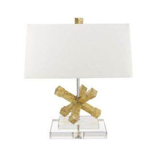 Oryginalna lampa stołowa Jack - kremowy abażur, designerska podstawa