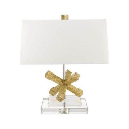 oryginalna, elegancka lampa stołowa z białym abażurem i podstawą złotą w kształcie rozgwiazdy