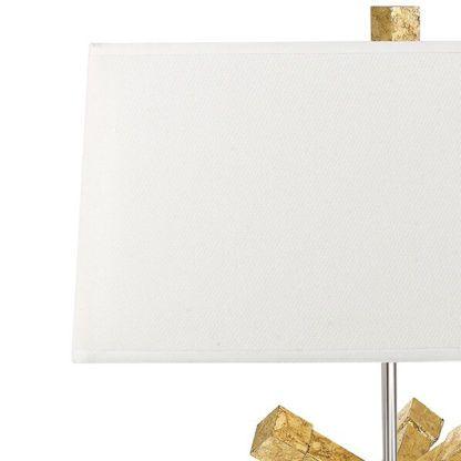 biały abażur do złotej lampy stołowej, elegancki, dobrej jakości