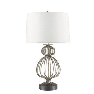 Oryginalna lampa stołowa Lafitte - srebrna baza, biały abażur