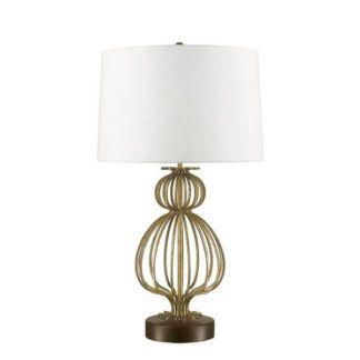 Metalowa lampa stołowa Lafitte - ażurowa, kremowy abażur