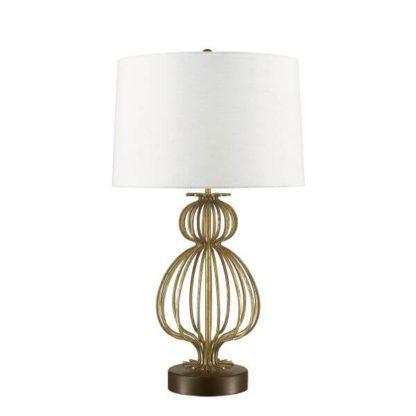 elegancka lampa stołowa z białym abażurem i ażurową podstawą złotą