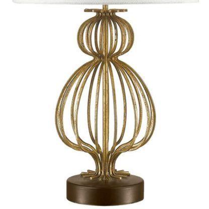 złota, ażurowa, metalowa lampa stołowa z okrągłą podstawą