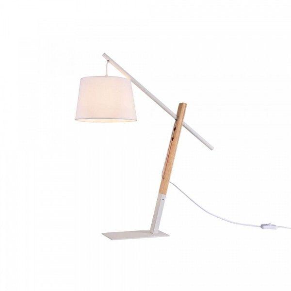 lampa stołowa z białym abażurem i drewnianą podstawą