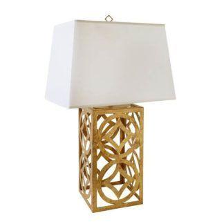 Dekoracyjna lampa stołowa Lee Circle - złota podstawa, ażurowa
