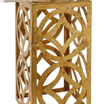 ażurowa, złota podstawa do lampy stołowej, kształt prostokąta