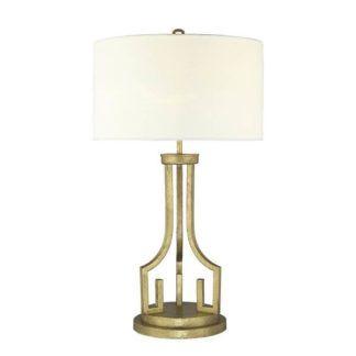 Wysoka lampa stołowa Lemuria - złota, jasny abażur