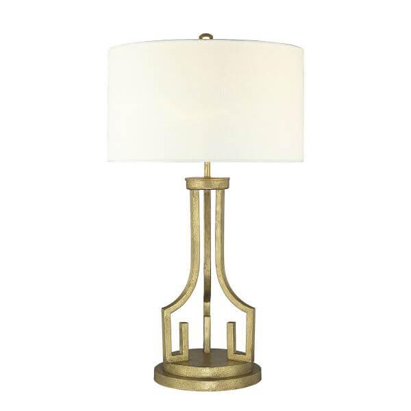 lampa stołowa z okrągłym, białym abażurem