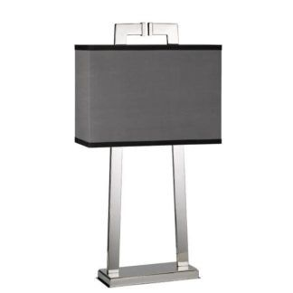 Elegancka lampa stołowa Magro - nowoczesna, szary abażur