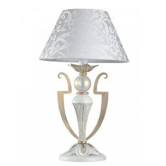 Elegancka lampa stołowa Monile - biały abażur, biało-złota