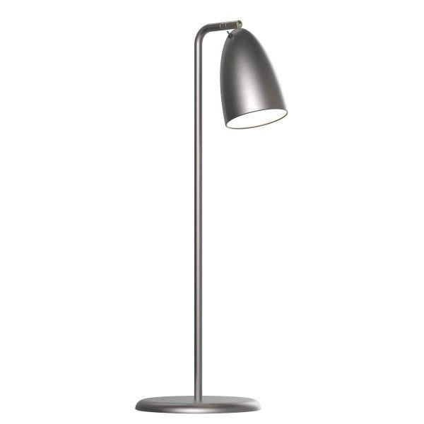 metalowa lampa biurkowa, srebrna, aranżacja skandynawska