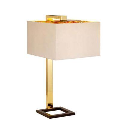 metalowa lampa stołowa, złota, z beżowym abażurem , geometryczna
