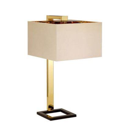 metalowa lampa stołowa z kwadratowym abażurem złotym w środku