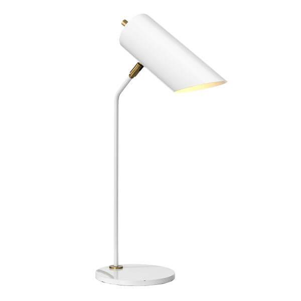 biała lampa biurkowa w modernistycznym stylu